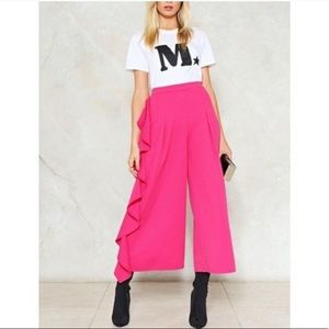 NWT Nasty Gal 2 Extreme Ruffle Crop Trouser Pink